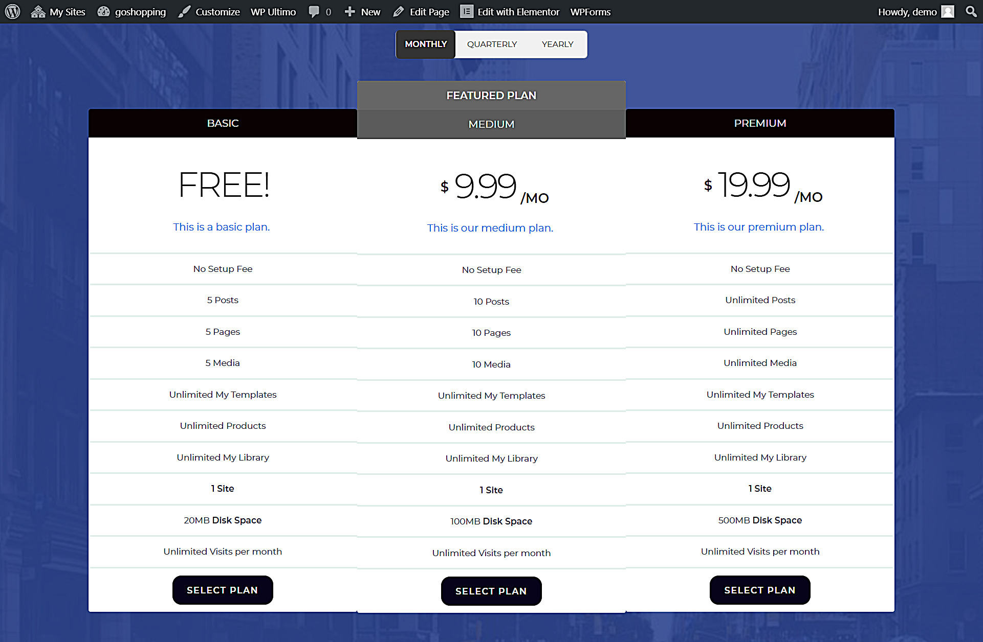 pricing page with elementor