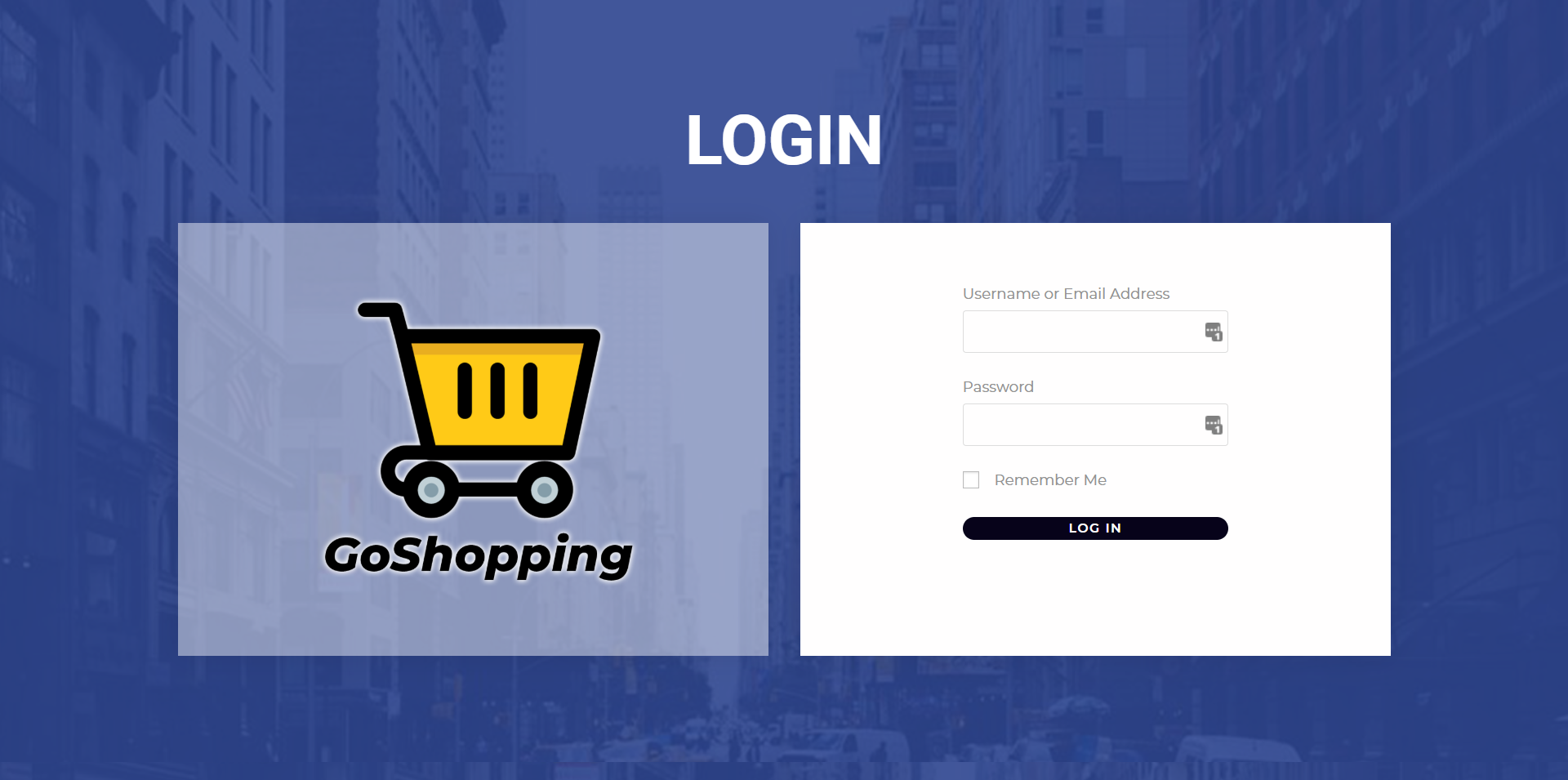 login page with elementor